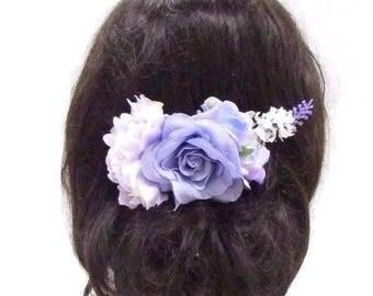 Lilac Purple Peony Lavender Rose Flower Hair Comb Bridesmaid Clip Floral 3035
