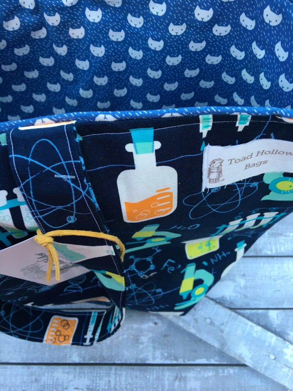 Knitting Project Bag-Extra Large Science Beaker Bag,Toad Hollow Bag,Crochet Project Bag,Louisa bag,xlarge yarn keeper,wedge knitting bag