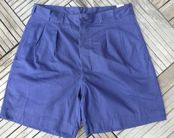Blue work shorts moleskine pleated armed
