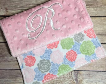 Baby Pink Roses Elegant Burp Cloth Set Available Mix and Match  Made to Order, Monogramming Option
