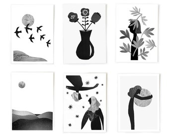 Art print set, black and white prints, minimalist prints, set of 4 art prints, collage, mixed media art, minimalist art, 5X7, print set