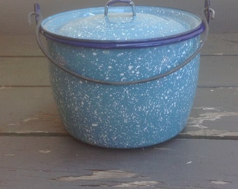 Blue Enamelware Mid Sized Bean Pot with Lid