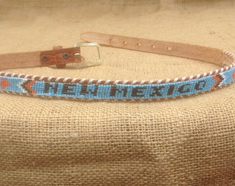 New Mexico Souvenir Beaded Native American Style Leather Belt