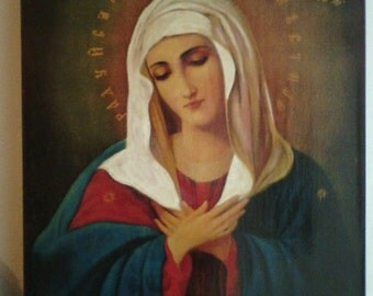 """Holy Mother of God """"Tenderness"""", icon hand-painted of hot colors directly on solid wood 18x24x2 см ( 7.0""""x 9.6""""x0.8"""" )"""