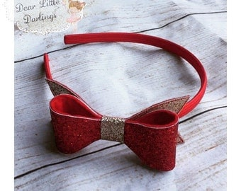 Glitter Bow Headband, Alice Band, Glitter Bow