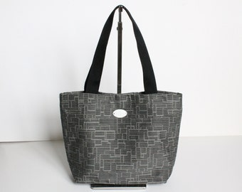 Gray rectangle pattern small tote bag