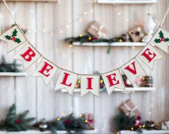 Believe Banner, Believe Burlap Bunting, Christmas Burlap Banner, Christmas Bunting, Christmas Decor, Holiday Decor, Rusti