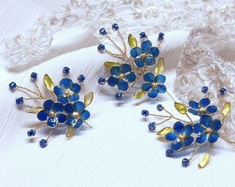 Forget Me Not Hair Pins Wedding Prom Hair Accessories Handmade Bridal Set of 3