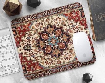 Persian Rug Mouse Pad Red Rug Mouse Mat Persian Carpet MousePad Desk Accessories MousePad Round Mouse Mat Moroccan Mouse Pad Office Gift Mom