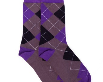 Purple Grey Argyle Socks - Argyle Socks. Mens Socks. Mens Dress Socks. Mens Argyle Socks. Handmade Socks. Fun Socks. Colorful Socks. Socks