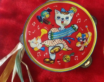 Antique Vintage Toy Tambourine, lithograph Toy Tambourine, antique Toys, Vintage Toys