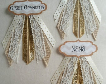"""Set of 3 Custom Colors Personalized Baby Shower Name Tag Corsage Pins - (See """"Item Details"""" to Customize)"""