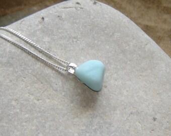 Sea Glass Necklace, Pastel Blue Milk Sea Glass Pendant, Seaham Sea Glass Jewelry, Sea Glass Jewellery Opaque, English Sea Glass Jewellery