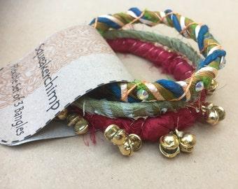 Boho Bangles, Handmade Indian Bangles, Boho Bracelet, Fabric Jewelry, Boho Cuff, Hippie Jewelry, Handmade Spiritual Jewelry, Red Green Gold