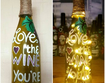 Upcycled hand painted Wine bottle light