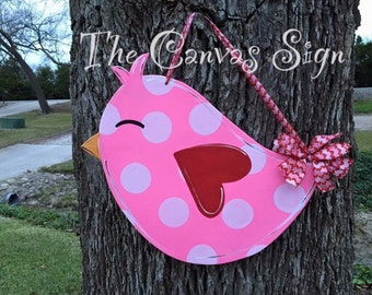 LOVE Valentine's Day Bird wooden door hanger