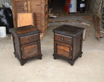 Pair of Reclaimed Lumber Nightstands