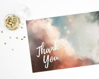 Thank You - Instant Download Printable Card , Abstract Art Hand Painted Design , Digital File , DIY Printable