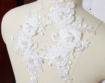 Ivory Floral Lace Appliques Trim Embroidery Tulle Trim Collar 1pair S0321
