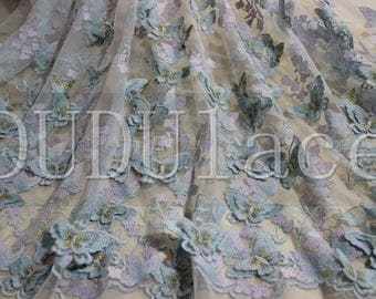 Light Blue 3D Butterfly Flower Lace Fabric with Vivid Butterfly Dress Lace 59'' Wide 1 Yard S0339
