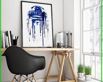 Dripping R2D2 painting small to any size Star Wars art print or original painting