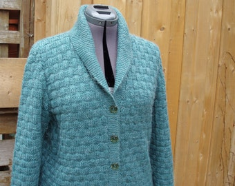 Vintage 1960's Teal 6 Button Basket Weave Wool Blend Men's or Women's Cardigan / Sweater