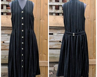 Vintage 1980's DAIQUIRI Cotton Black with White Pin Stripes Casual Sleeveless Button Down Dress