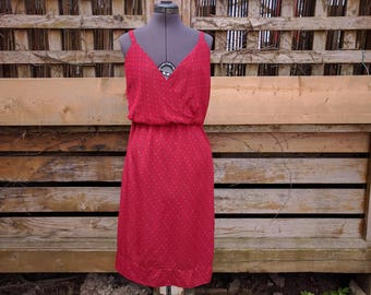Vintage 1970s Red Disco Thin 100% Polyester Dress Summer Evening Sundress