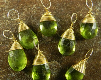 Gold plated 925 sterling silver connector - Natural peridot wire crafted pear drop pendant - August birth stone wire wrapped - SHST0983