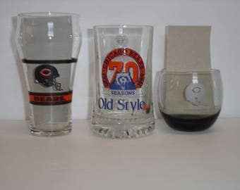 NFL Chicago Bears Glass Coca Cola Coke Glass  Old Style Beer Glass Chicago Bears and Mobil NFL Chicago Bears Helmet Glass