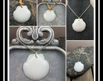 Memorial Ash Shell Pendant/Memorial Ash Jewelry/ Pet Memorial Pendant/Cremation Necklace/58 color options/Cremation Necklace