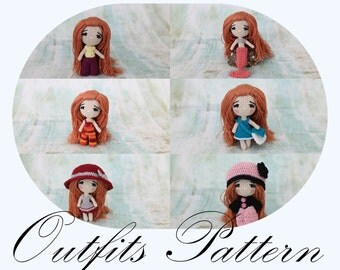 PATTERN: Doll Outfits, Amigurumi Pattern, Crochet Pattern, OUTFITS Only (English Only)