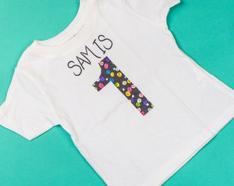 Personalized Birthday Confetti Kids and Baby Tee Shirt in Black
