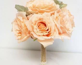 JennysFlowerShop Super Soft Silk Rose Wedding Bouquet  Bridal Bridesmaid Flower Girl Toss Bouquet Boutonniere Peach