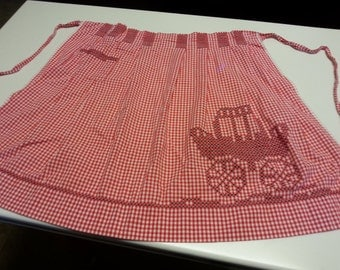 Vintage Red & White Checked Apron