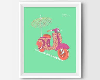 Vespa Scooter Poster, Vespa Wall Art, Vespa Print, Vintage Poster, Vespa Lovers, Spring, Made in Italy, Cool Posters, Room Decor, Home Decor