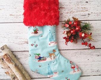 Christmas Stocking - Girls Holiday Stockings - Whimsy Christmas Decorations - Mantel Decor - Mantle Decor - Modern Christmas