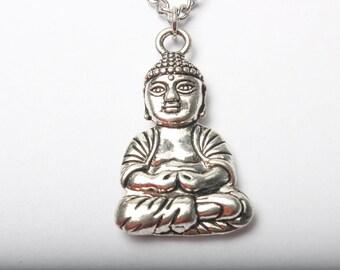 Buddha Necklace,antique Silver Buddha.buddha Pendant. Long Boho Necklace.om. Ohm.zen. Boho Yoga Jewelry.