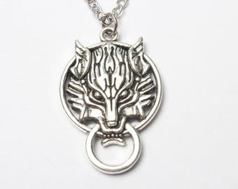 Silver wolf necklace, wolf necklace, wolf charm, sterling silver, silver necklace, wolf charm