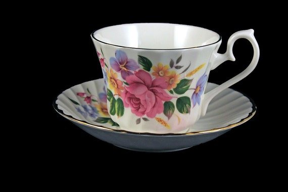 Teacup and Saucer, Royal Kendal, H&M Ltd, Fine Bone China, Rose Floral, Made in England, Gold Trimmed