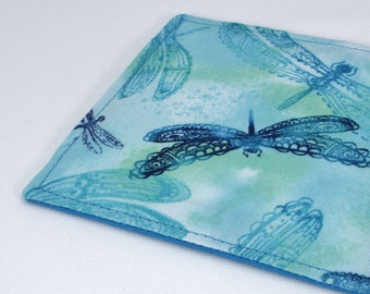 Fabric coaster, dragonflies coaster, cotton drink coaster, dragonfly coaster, turquoise tabletop decor, waterproof layer, 1 single coaster