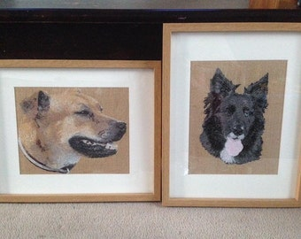 Personalised Embroidered Pet Portrait Made from your Photo (Personalized) keepsake,pet memorial, rainbow bridge, pet loss, gift, present,