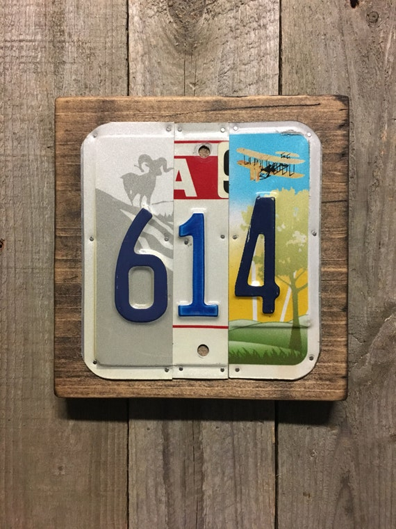 614 License Plate Sign - Area Code License Plate Wall Art - Columbus Ohio (Rustic Apple Art seen in Country Living Mag)