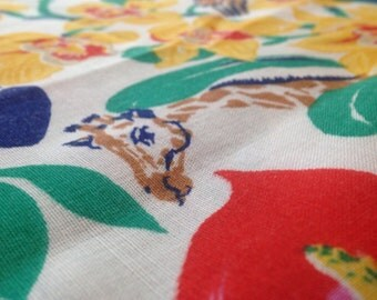 Vintage Originelle Exotic Rainforest Print Fabric