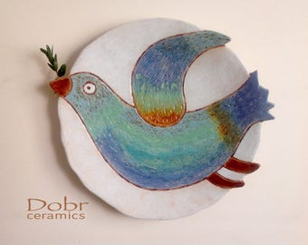 Ceramic plate, Ceramic dish, Wall decor, Bird, Made to order