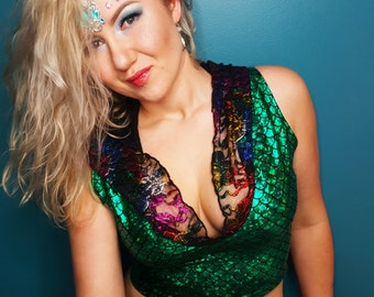 Metallic Green and Rainbow Black Lace Mermaid Crop Top .Holographic  Festival Rave Deep V Neck Clothing