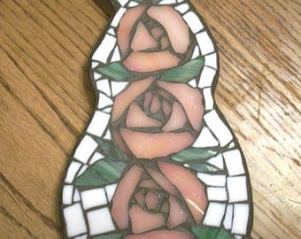 """6"""" by 10.75 inch White Rabbit with Pink Roses Mosaic Wall Art Plaque,rose,glass,flower,pink,green,bunny shaped,spring"""