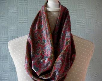 velour snood scarf, paisley velour cowl scarf, velour loop scarf