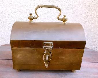 Vintage Large Brass Trinket Box
