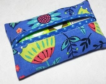 Tissue Holder, Fabric Tissue Holder, Travel Tissue Case, Blue Pocket Tissue Cover, Travel Tissue Holder, Gift Under 10